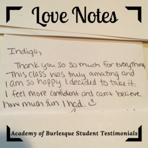 "handwritten image with this text: ""Thank you so much for everything. This class was truly amazing and I am so happy I decided to take it. I feel more confident and can't believe how much fun I had. :-)"""