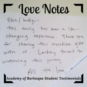 "hand-written student note with text that reads: ""This has truly been a life-changing experience. Thank you for sharing this incredible gift with us. Looking forward to continuing this journey. All the love."""